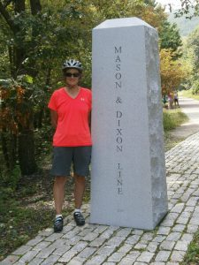 Great Allegheny Passage, Marjorie at Mason Dixon line