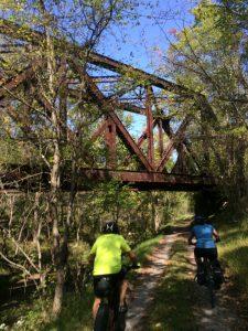 Iron truss bridge along the C&O