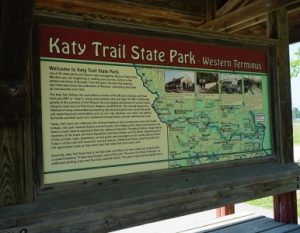 Katy Trail, Western Terminal sign