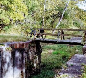 C&O Canal , bike on fence