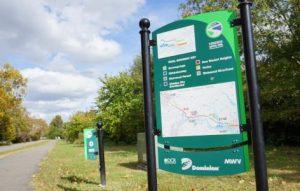 Virginia Capital Trail, Mile 0 sign